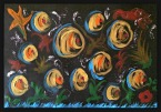 Artwork by Jo Dooley Acrylic on Black Paper
